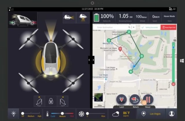 Drone Ehang 184 app waypoints
