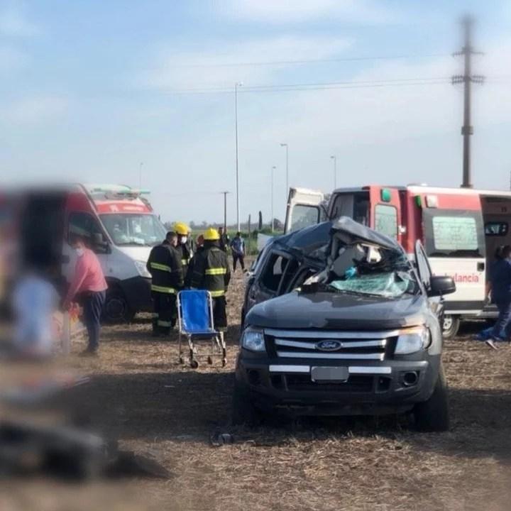 Accidente y Rescates aéreos en el cruce de Ruta AO12 y 14