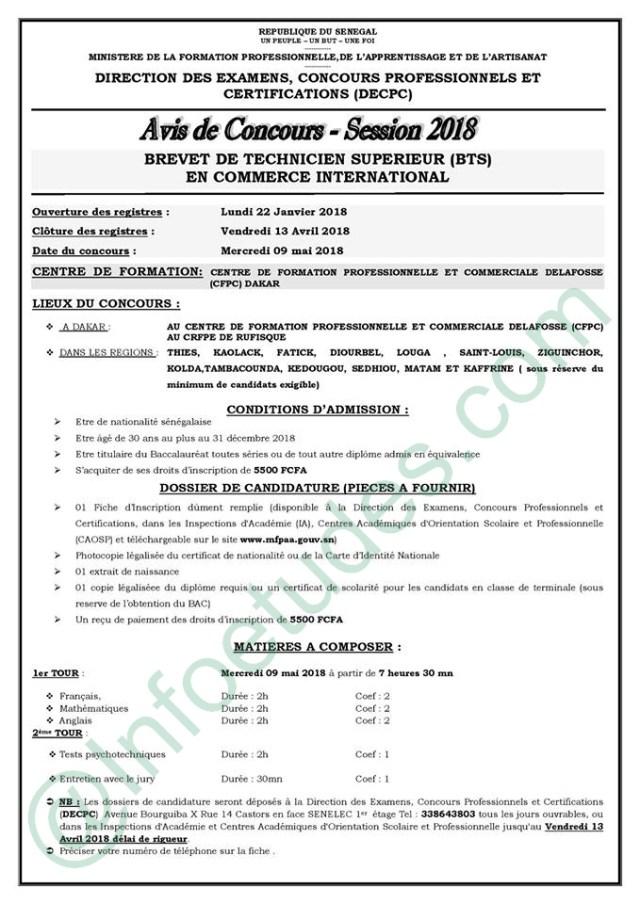 Concours 2018 bts en commerce international comite orientation educative c o e senegal - Cabinet de recrutement international canada ...