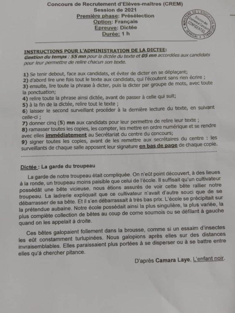 WhatsApp Image 2021 09 07 at 11.21.27 CREM 2021 : épreuve de dictée