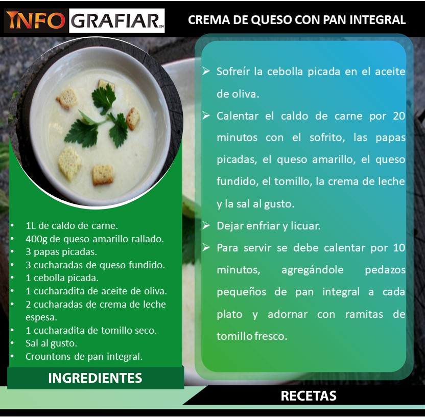 CREMA DE QUESO CON PAN INTEGRAL