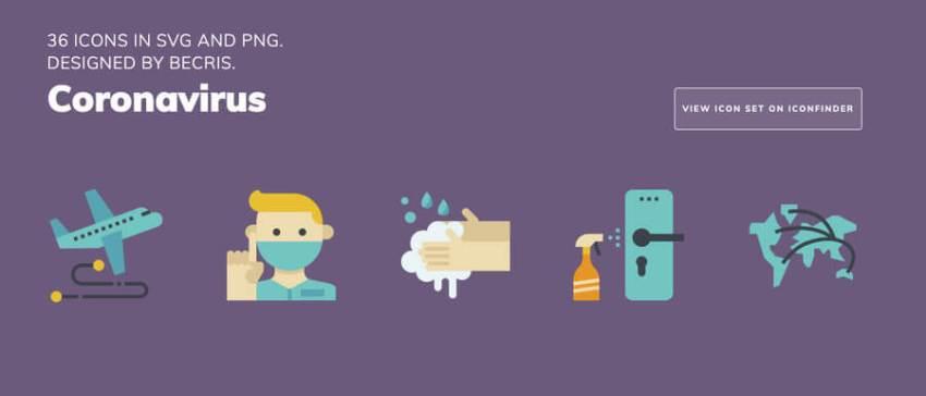 Más de 300 iconos sobre el Coronavirus que puedes descargar gratis y utilizarlos para hacer diseños para crear conciencia sobre la higiene personal y luchar contra la propagación del virus