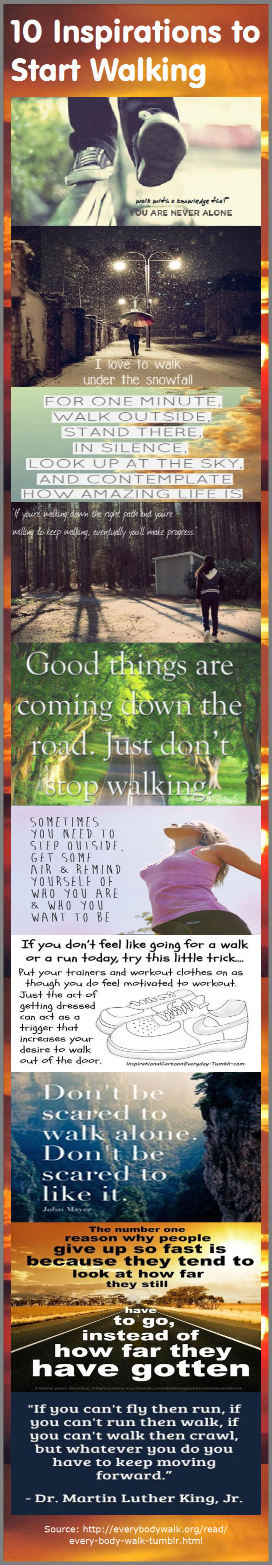 10 Inspirations to Start Walking