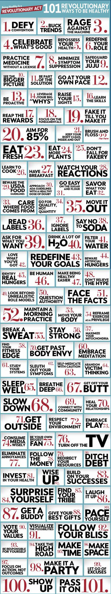101 Revolutionary Ways to Be Healthy