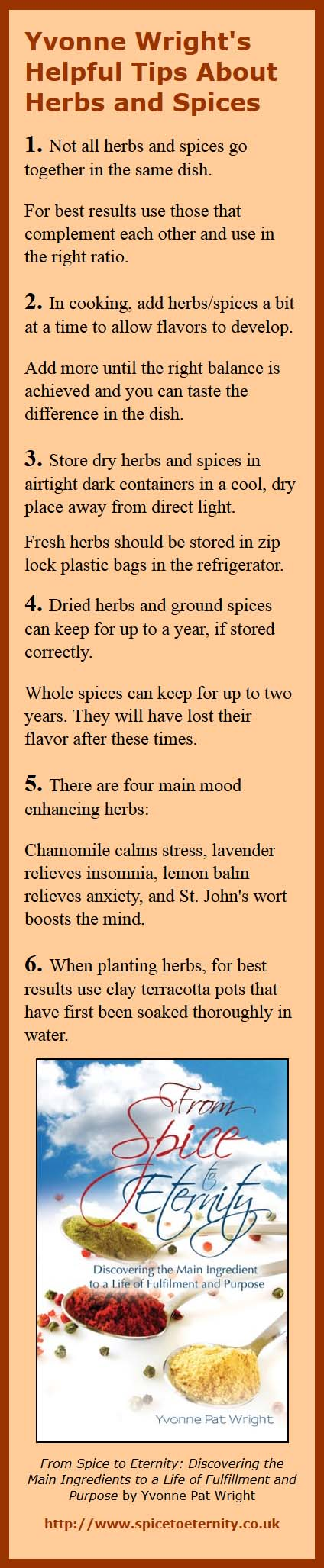 Yvonne Wright's Helpful Tips About Herbs and Spices