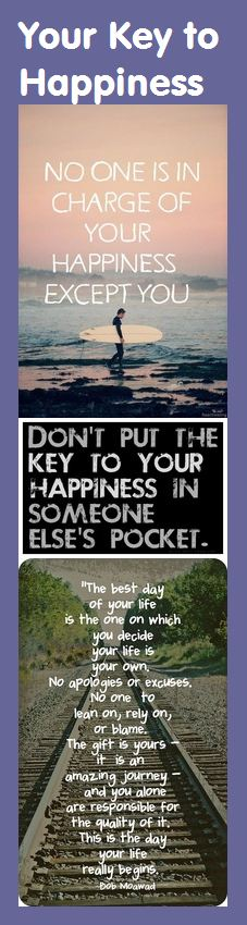 Motivational Bookmark - Your Key to Happiness