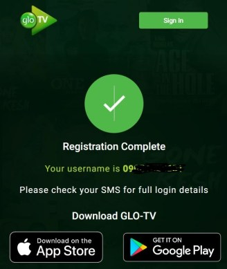 Glo TV registration completed