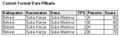 Contoh format data Pilkada