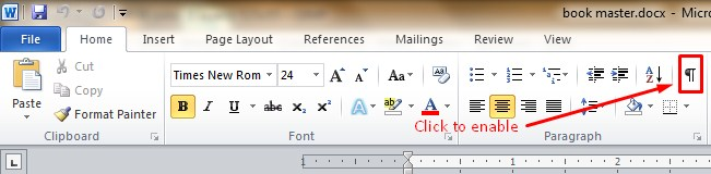 enable paragraph mark in Word