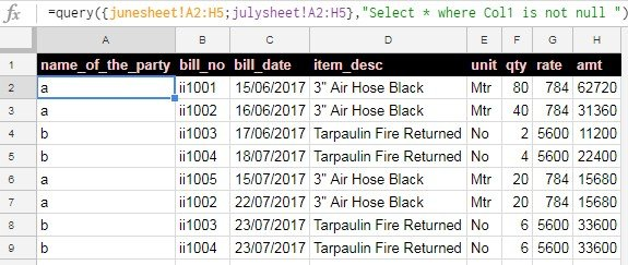 google sheets - multiple sheet combined data sample