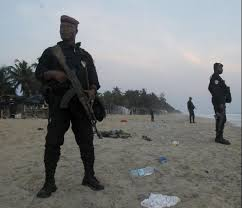 ivorian military securing the area