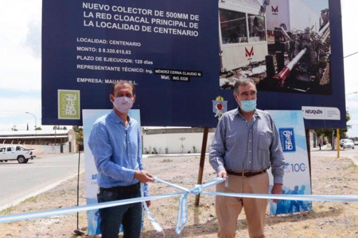 Gutiérrez y Bertoldi inauguraron obra de saneamiento en Centenario