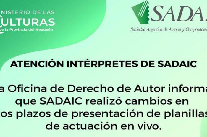 Información de SADAIC para intérpretes