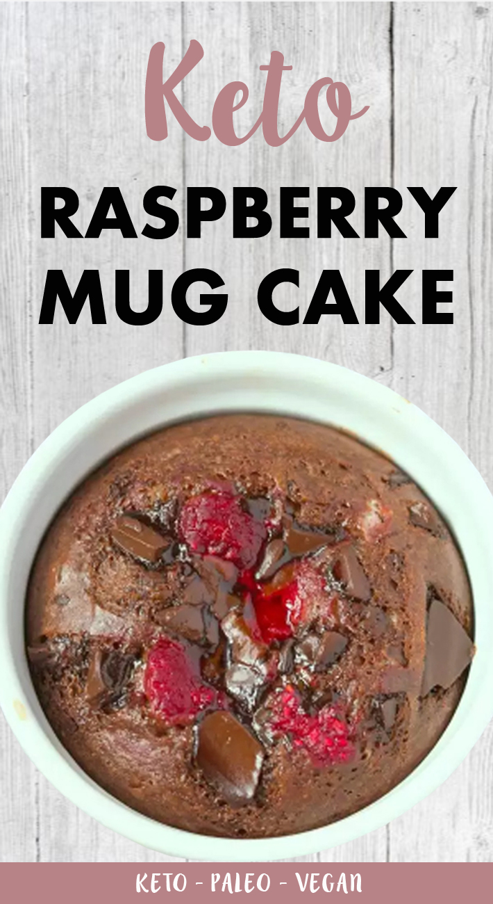 Keto Raspberry Chocolate Mug Cake