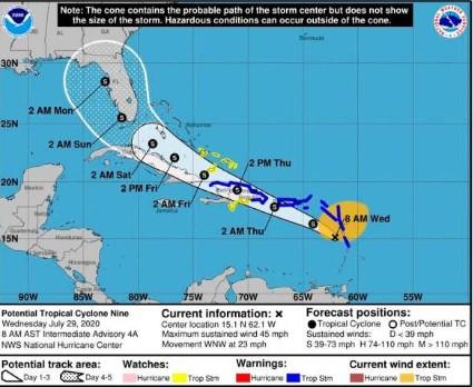 La tormenta Isaías tocaría tierra dominicana entre 2:00 y 4:00 p.m.