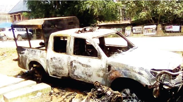 Abia Vigilante Burnt Vehicle