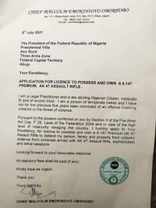Lawyer Seeks President Buhari's Approval To Posses AK-47 Riffle