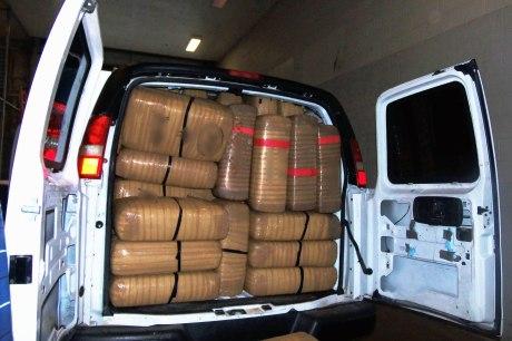 Paquetes con marihuana incautados en Nogales.