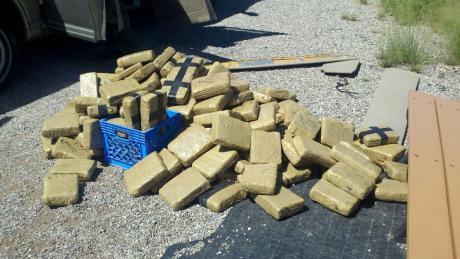 Paquetes con droga descubiertos.