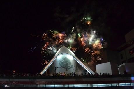 Así lucieron los fuegos artificiales durante el festejo patrio.