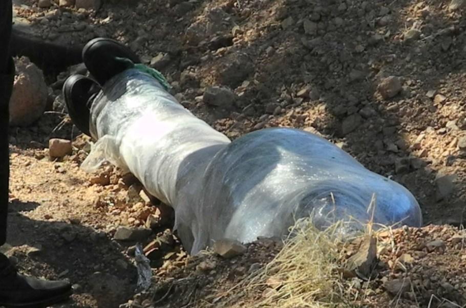 Estaba envuelto en una cobija y en plástico transparente.
