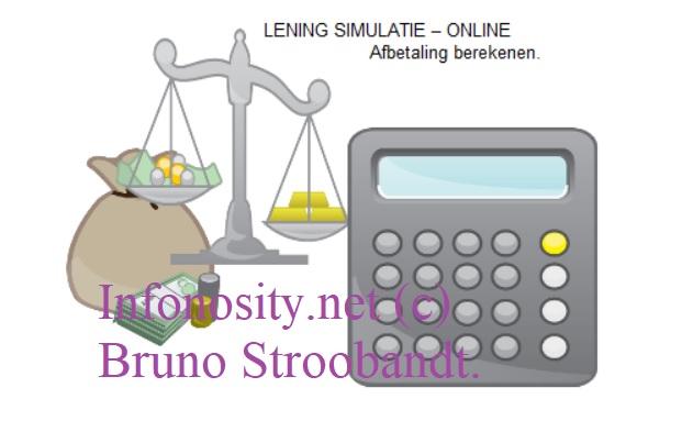 geld lening simulatie (lening berekenen) - online uw afbetaling berekenen. Hier kan je zelf een lening simuleren. (woningkrediet) en dus uw hypotheek berekenen. Hoeveel kan ik lenen voor mijn huis? En maandbedrag lening berekenen.