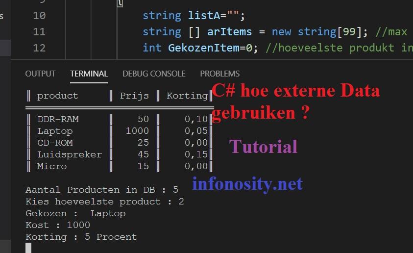 C# tutorial voor beginners.: Hoe kan je een externe (cvs) file gebruiken als database in uw zelf geprogrammeerde C-sharp programma?