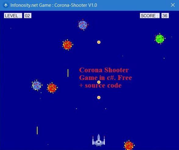Corona shooter game in C# + source code.