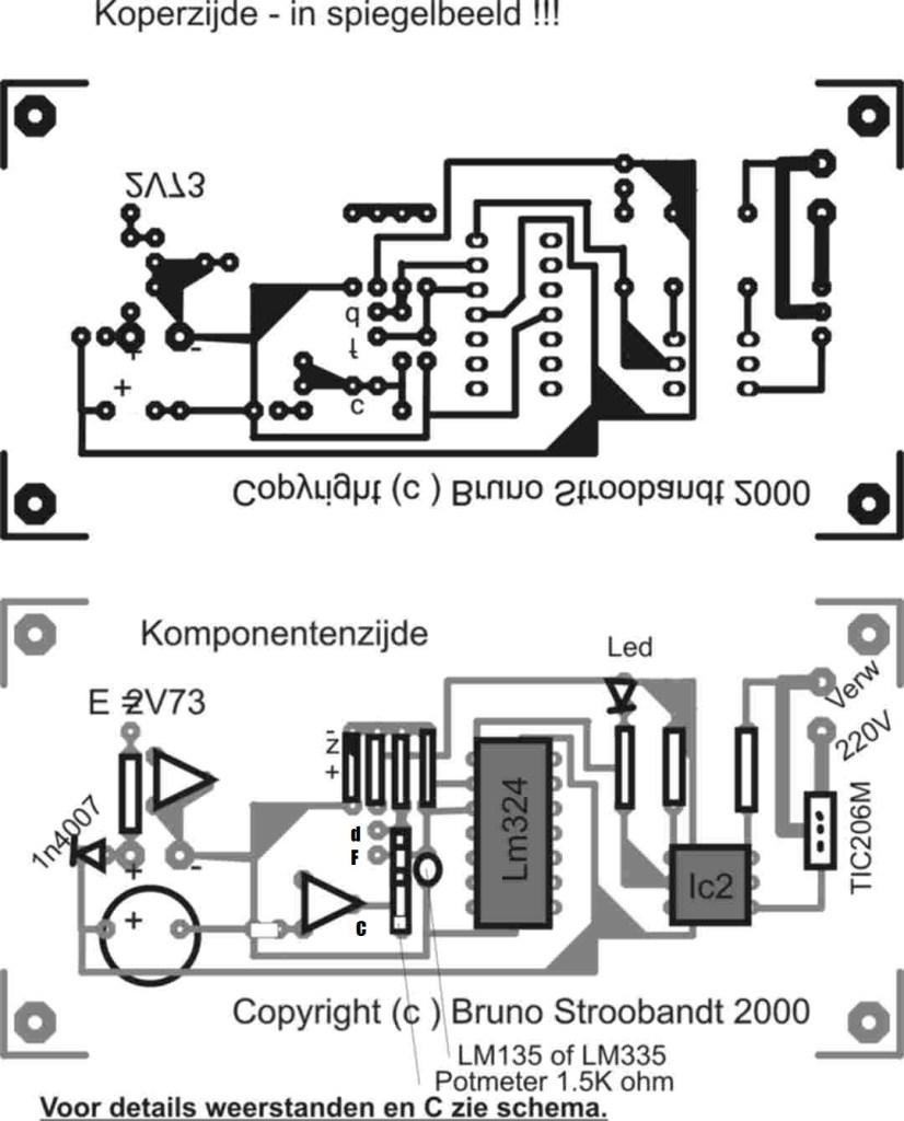 broedmachine maken: elektronica zelfbouw : Temperatuur regeling voor uitbroeden van eieren print pcb componenten opstelling