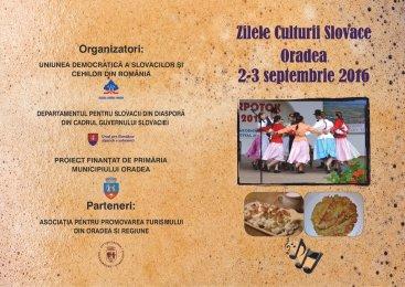 2-3 septembrie, Zilele Culturii Slovace din Bihor. Vezi programul evenimentului