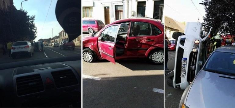 Accident pe str Primariei, o gravida transportata la spital dupa ce taxiul in care se afla s-a rasturnat