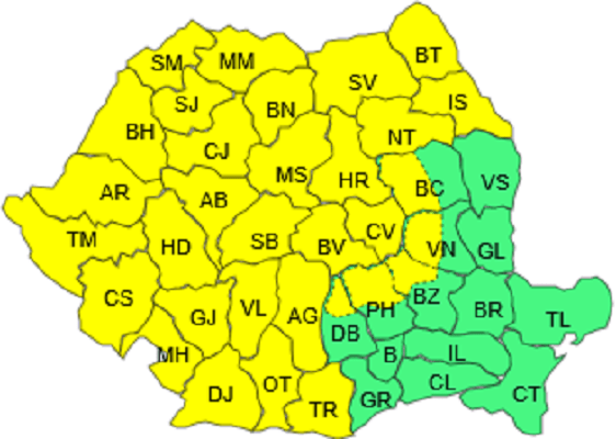 Harta Romania cod galben polei si vant 13.01.2017