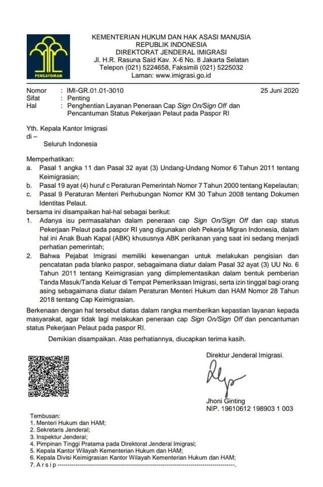 Surat Edaran Penghentian cap sign on off & status pelaut