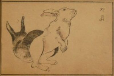 Rabbits hold a special place in Japanese culture. 19th century woodblock illustration.