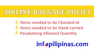 items allowed for check in or hand carry airline baggage rules