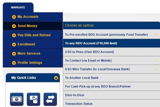 send money to any bdo account