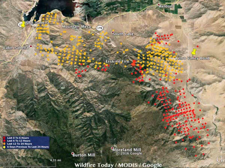 Image des détections satellite des différents foyers