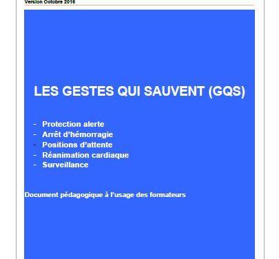 Gestes qui sauvent – GQS – Guide pédagogique – Document Formateur