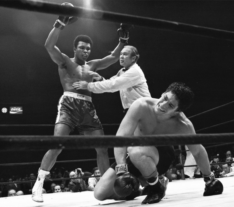 Muhammad Ali gets held back by referee Mark Conn after knocking down Oscar Bonavena during the NABF Heavyweight Title fight at Madison Square Garden.  New York, New York 12/7/1970 (Image # 2074 )