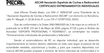 Certificado Deportistas Automodelismo durante fases COVID 19, descárgalo aquí