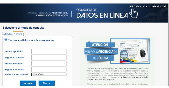 Consultar numero de cédula de una persona Ecuador