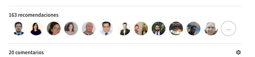 Imagen de Linkedin con las fotos de las personas que recomiendan y comentan