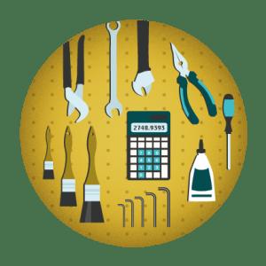ilustración con herramientas de un taller ordenadas y una calculadora en medio