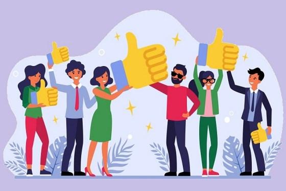 Caricaturas de personas felices que sostienen dedos pulgares hacia arriba