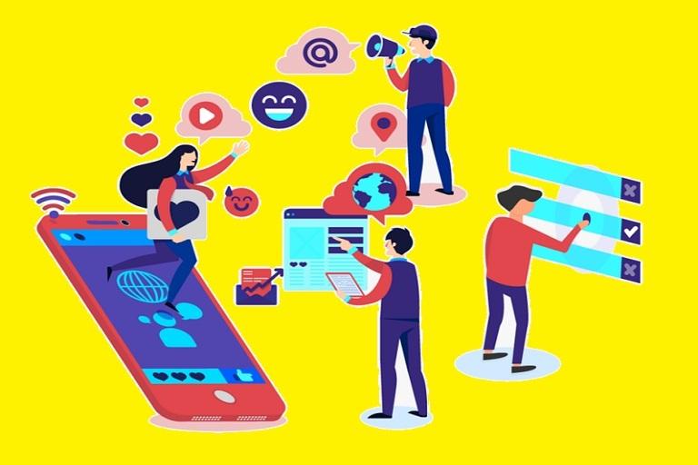 Dibujos de personas interactuando con dispositivos y plataformas en línea