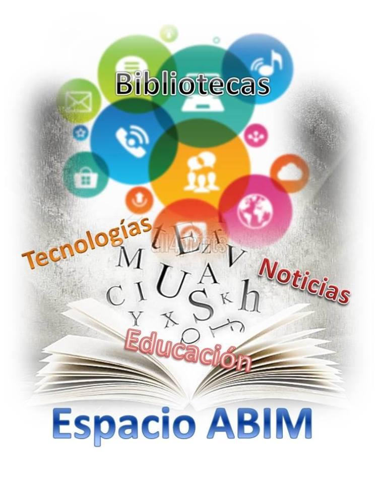 Logo de Espacio ABiM. Es un libro abierto con burbujas de colores