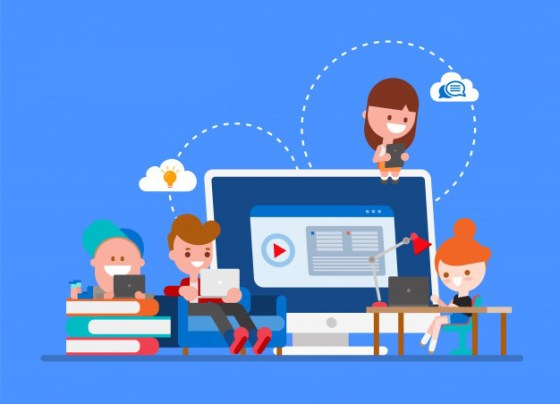 Imagen que muestra una computadora, libros y personas con dispositivos