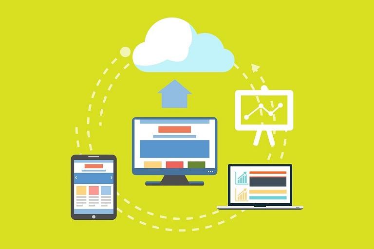 Imagen que muestra un monitor de computadora, una tableta, un teléfono inteligente y una nube