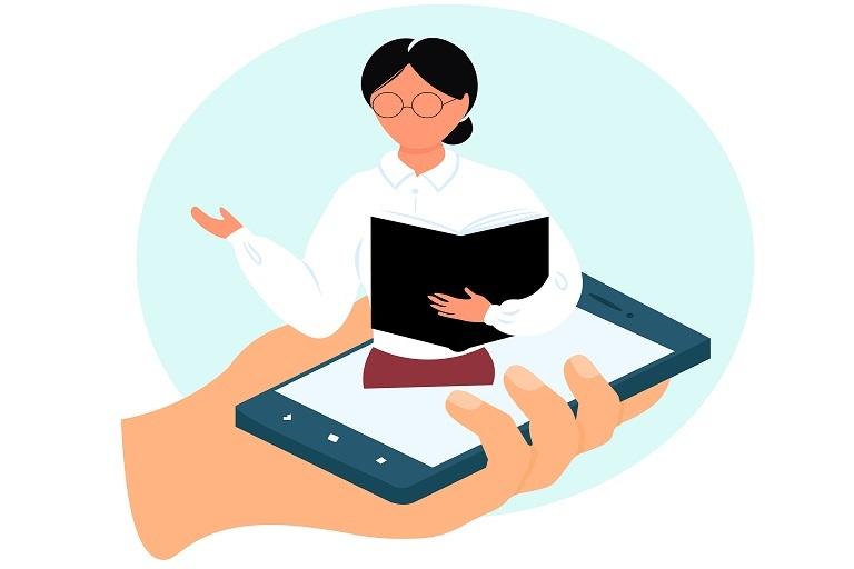 imagen que muestra una docente y un celular