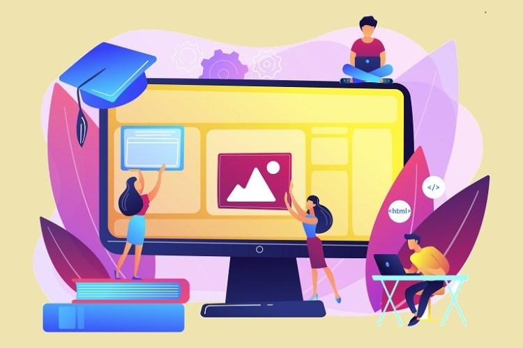 Imagen que muestra caricaturas de personas diseñando una interfaz educativa